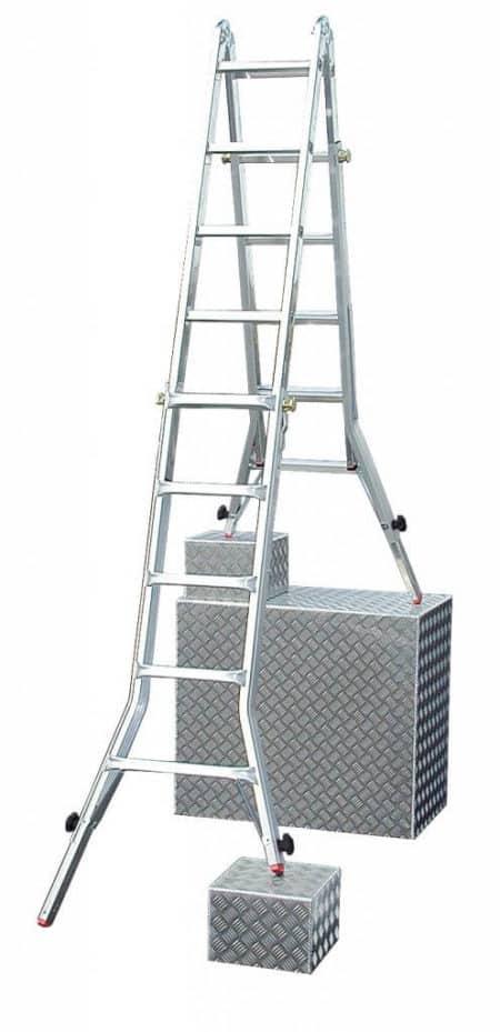 Krause TeleVario® TeleskopLeiter 4x5 mit 4 Holmverlängerungen + Treppy GRATIS